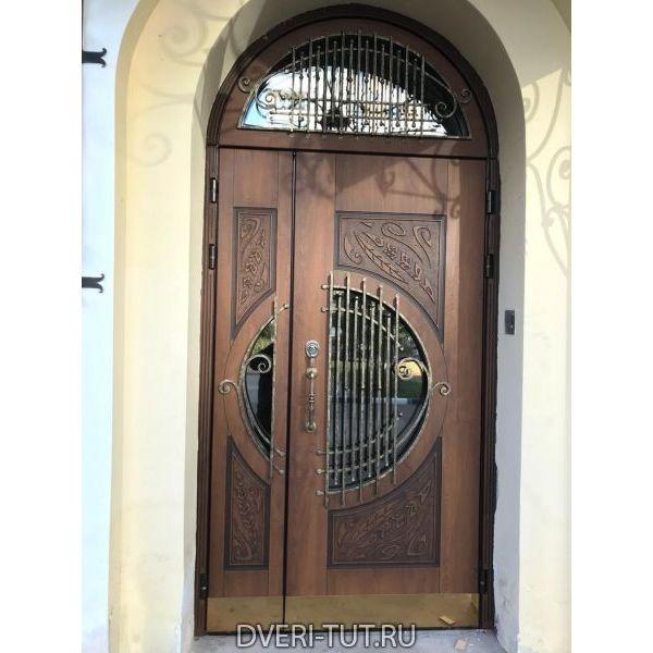 Двупольная дверь Леонардо со стеклопакетом и ковкой в коттедж