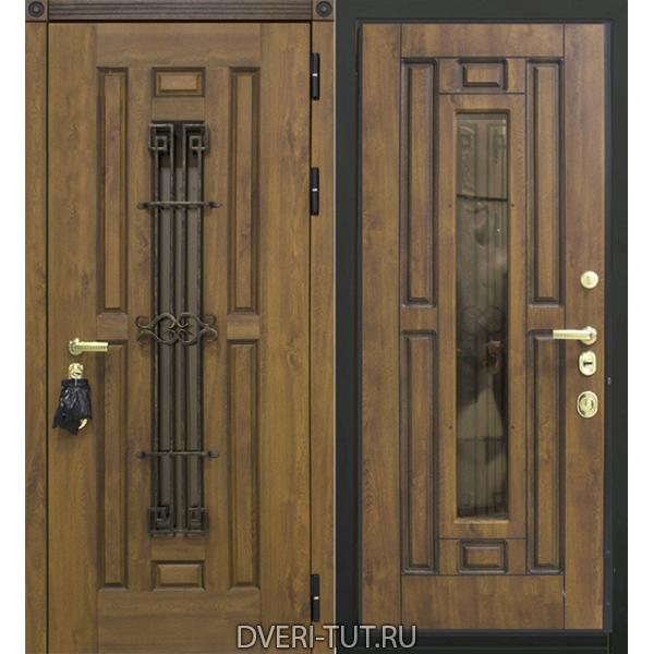 Входная металлическая дверь София с окном и ковкой.