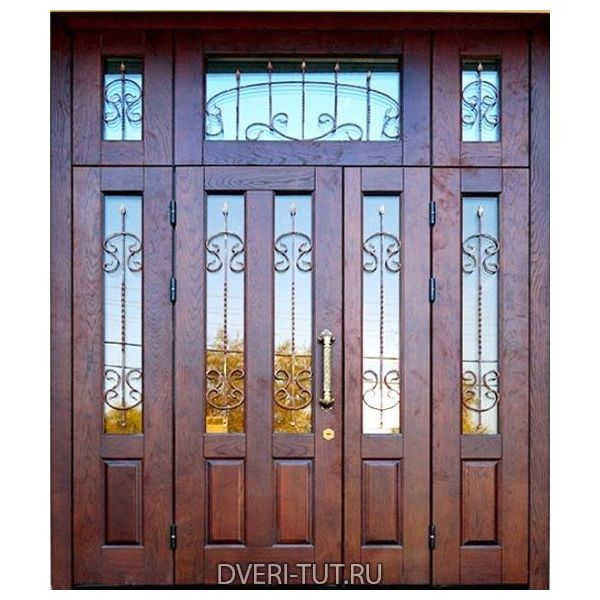 Двупольная дверь Рублево с фрамугой натуральное дерево.