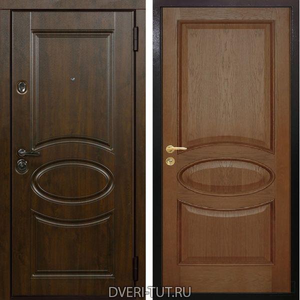 Входная дверь Дублин Император дуб темный винорит-дуб темный натуральный шпон
