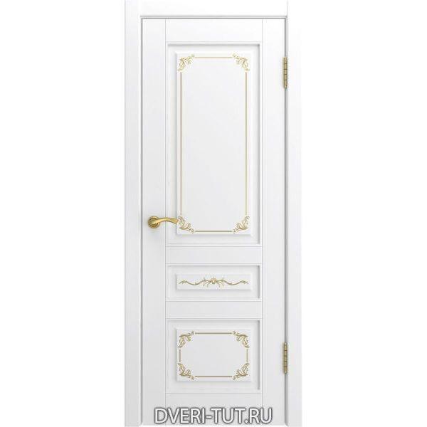 Дверь L-3 ДГ (глухая) с покрытием эмаль белая с золотой патиной