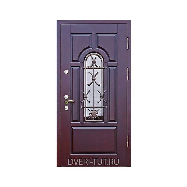 Дверь уличная Ямал 2 темное красное дерево в коттедж