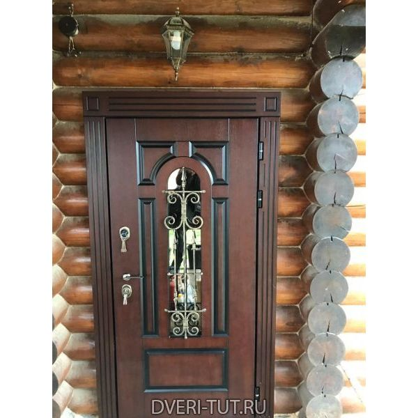 Дверь уличная Ямал темное дерево в коттедж