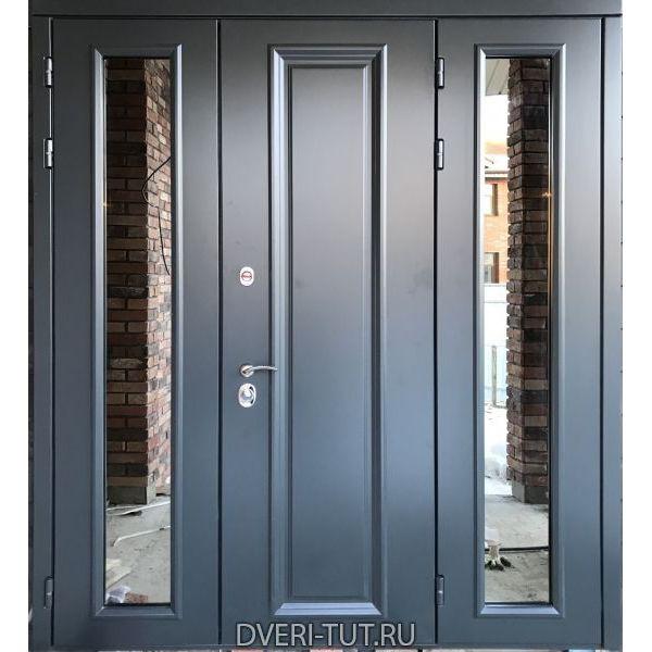 Уличная двупольная дверь Флот с боковой фрамугой и окнами с покрытием эмаль