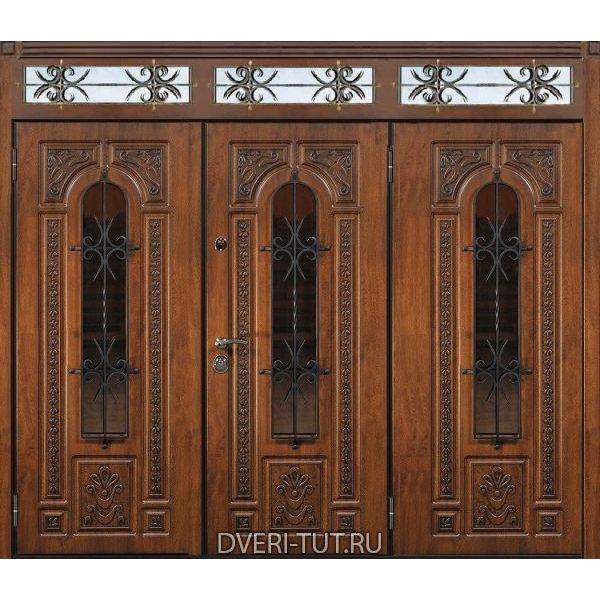 Двупольная парадная дверь Трирема с фрамугой