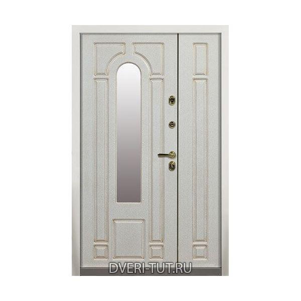 Двупольная дверь Lazio (Лацио)  белая с золотой патиной - белая с золотой патиной