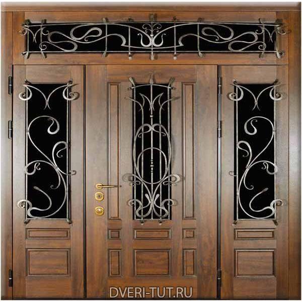 Двупольная дверь Скандинавия с фрамугой и боковым декором в коттедж.