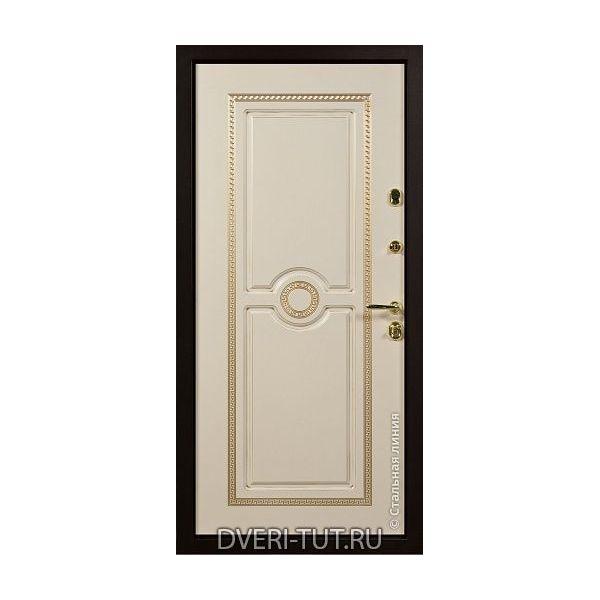 Дверь Версаче дуб темный-белый винорит с патиной