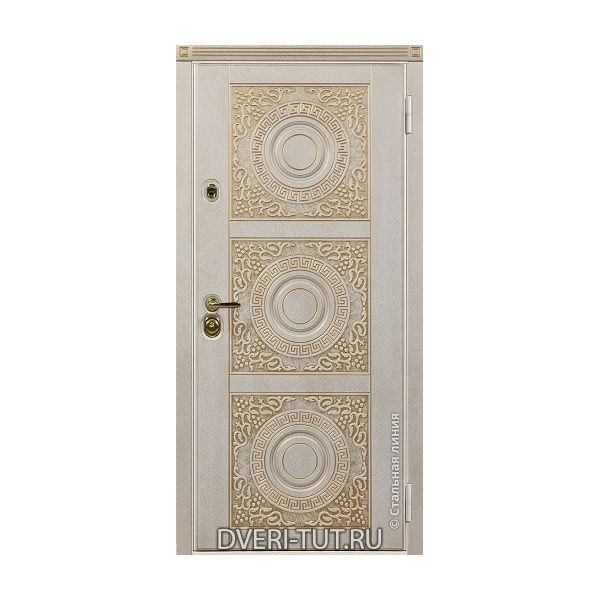 Дверь Богема белыая с золотой патиной-белая с золотой патиной