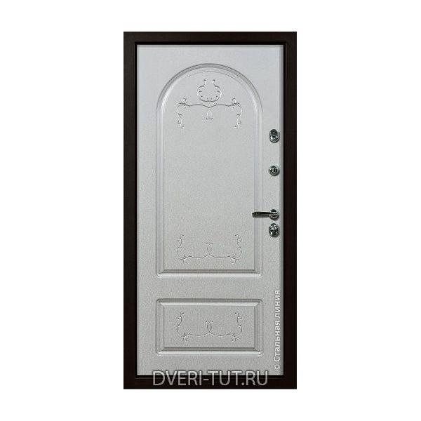 Дверь Leo «Лео» Дуб золотой-белый с патиной золото/серебро.