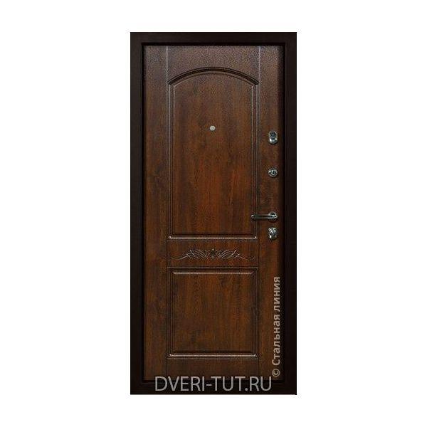 Входная дверь «Гоа» дуб золотистый-белая с золотой патиной в квартиру и частный дом