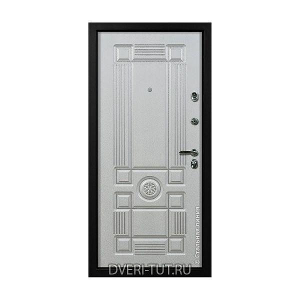 Входная дверь Cezar (Цезарь) дуб темный-белый с патиной серебро/золото.