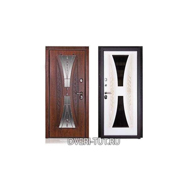 """Входная металлическая дверь """"Песочные часы"""" винорит с окном и ковкой."""