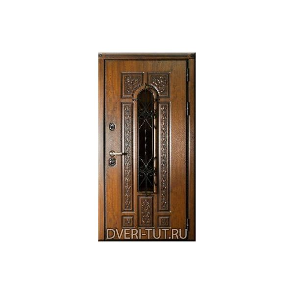 Входная металлическая дверь Русь с окном и ковкой.