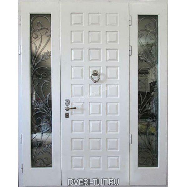 Двупольная дверь Жемчуг с окном и ковкой белый винорит-белый винорит