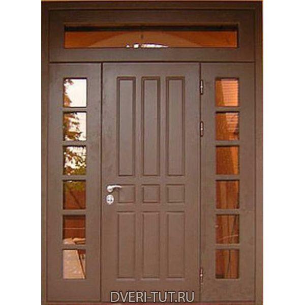 Двупольная дверь с фрамугой Дольче коричневый-коричневый