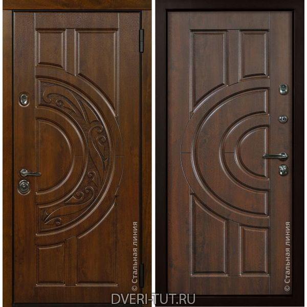 Дверь «Луна» Дуб темный-дуб золотистый.