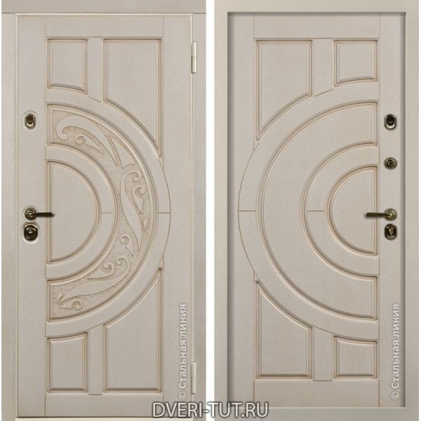 Дверь Luna (Луна) белая с золотой патиной-белая с золотой патиной.