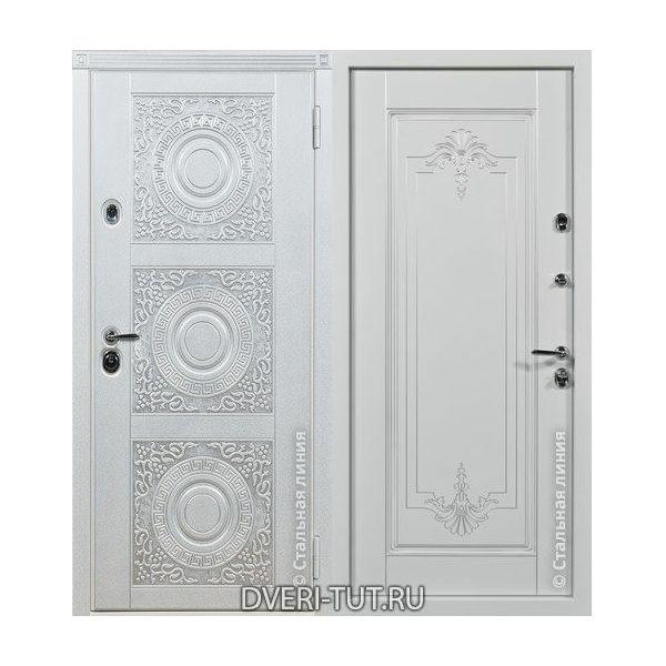 Дверь Богема белыая с серебряной патиной-белая с серебряной патиной