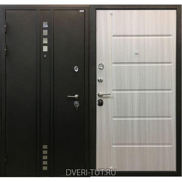 Дверь Техно черный бархат-сандал белый в квартиру