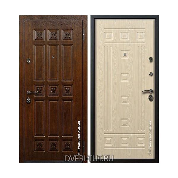 Дверь входная Elite (Элит) дуб золотой с патиной-ПВХ беленый дуб