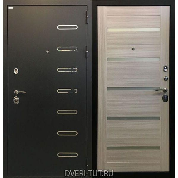 Дверь Стелла черный шелк с вставками-сандал белый с вставками