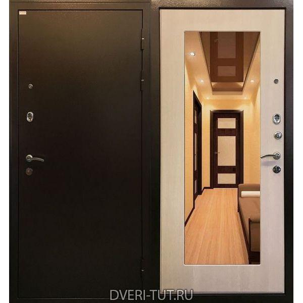 Дверь Милан медный антик-экодуб с зеркалом