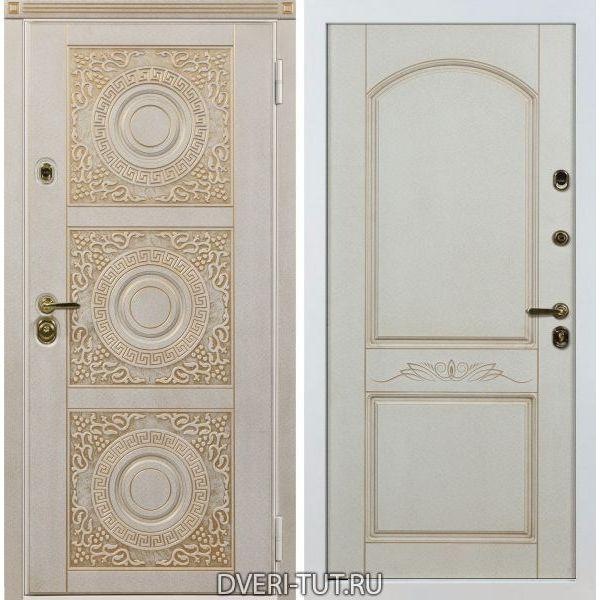 Дверь «Милано» белая с золотой патиной-белая с золотой патиной