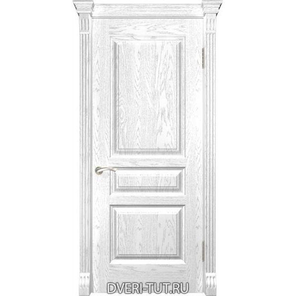 Дверь из массива дуба Валентия-2 ДГ дуб белая эмаль (глухая)