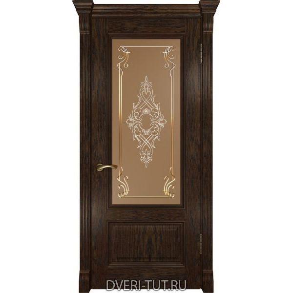 Дверь из массива дуба Фараон-1 ДО мореный дуб (остекленная)