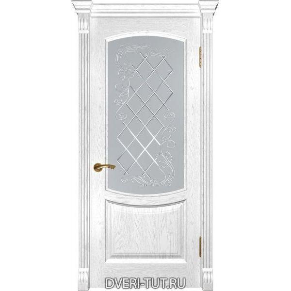 Дверь из массива дуба Лаура-2 ДО дуб белая эмаль (остекленная)