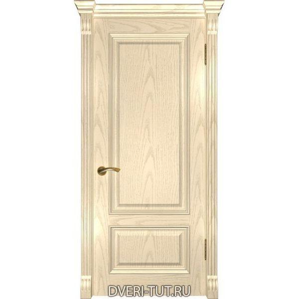 Дверь из массива дуба Фараон-1 ДГ слоновая кость (глухая)