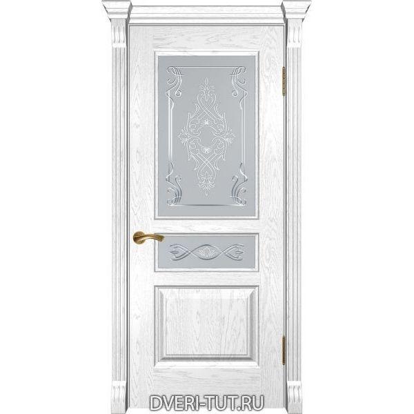 Дверь из массива дуба Валентия-2 ДО дуб белая эмаль (остекленная)
