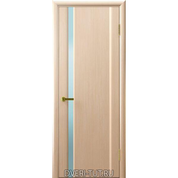 Дверь шпонированнаяСинай 1 ДО Беленый дуб,стекло белое триплекс