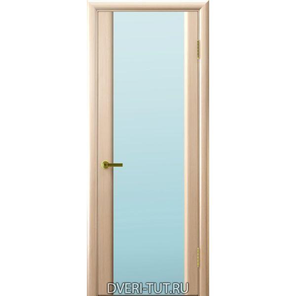 Дверь шпонированная Синай 3 ДО беленый дуб, стекло триплекс белое