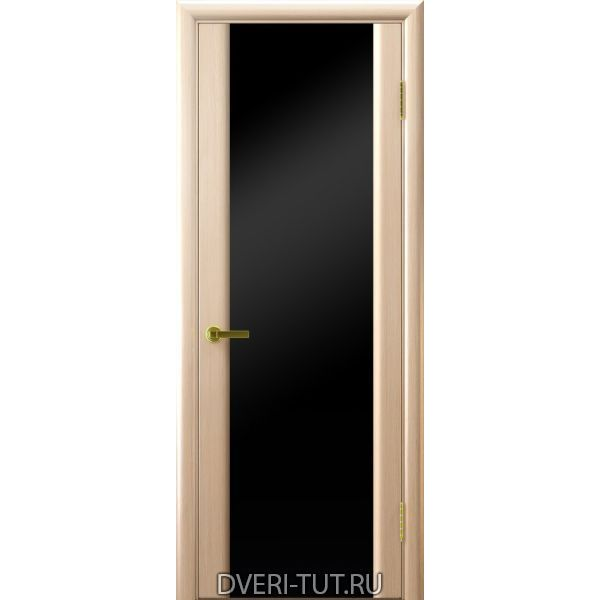 Дверь шпонированнаяСинай 3 ДО белый дуб, стекло триплекс черное