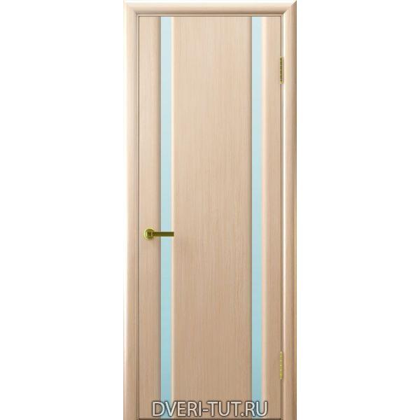 Дверь шпонированная Синай 2 беленый дуб (два стекла белых триплекс)