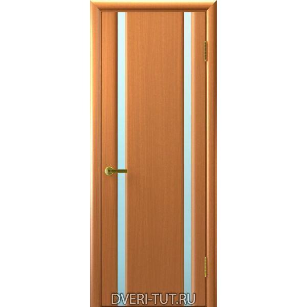 Дверь шпонированная Синай 2 ДО светлый анегри, тон 34, два белых стекла триплекс