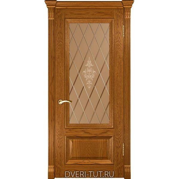 Дверь шпонированная Фараон-1 ДО дуб золотистый (со стеклом)