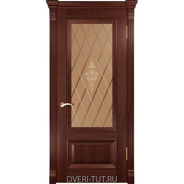 Дверь шпонированная Фараон-1 ДО красное дерево (со стклом)