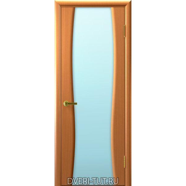 Дверь шпон Клеопатра 2 ДО светлый анегри 34 тон стекло триплекс белое