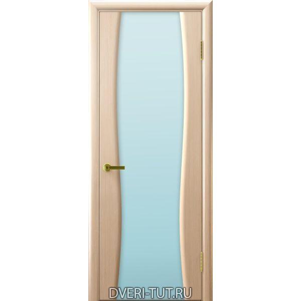 Дверь шпон Клеопатра 2 ДО беленый дуб стекло триплекс белое