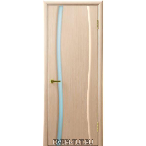 Дверь шпон Клеопатра 1 ДО беленый дуб стекло триплекс белое