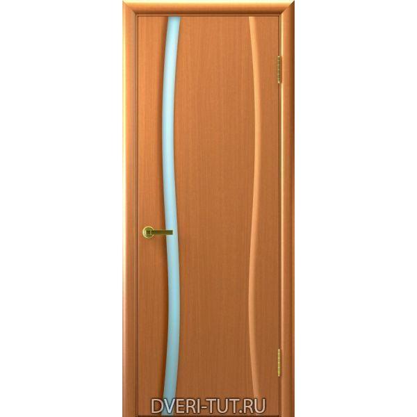 Дверь Клеопатра 1 шпон светлый анегри 34 тон стекло триплекс белое
