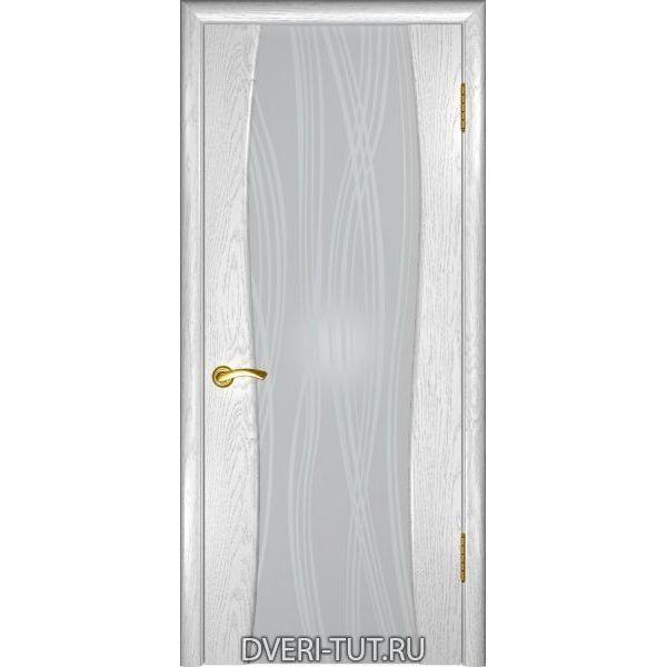 Дверь Аква-2 шпон дуб белая эмаль (стекло белое триплекс с рисунком)