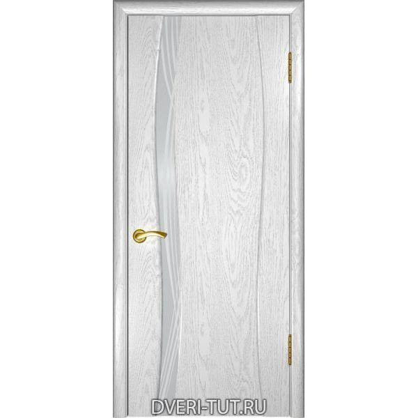 Дверь Аква-1 шпон дуб белая эмаль (стекло белое триплекс с рисунком)