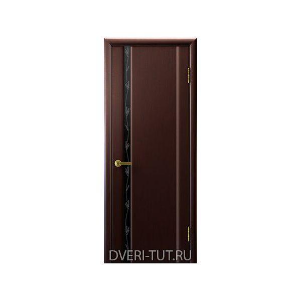 Дверь Глория 1 ДО шпон венге (стекло со стразами черное триплекс)