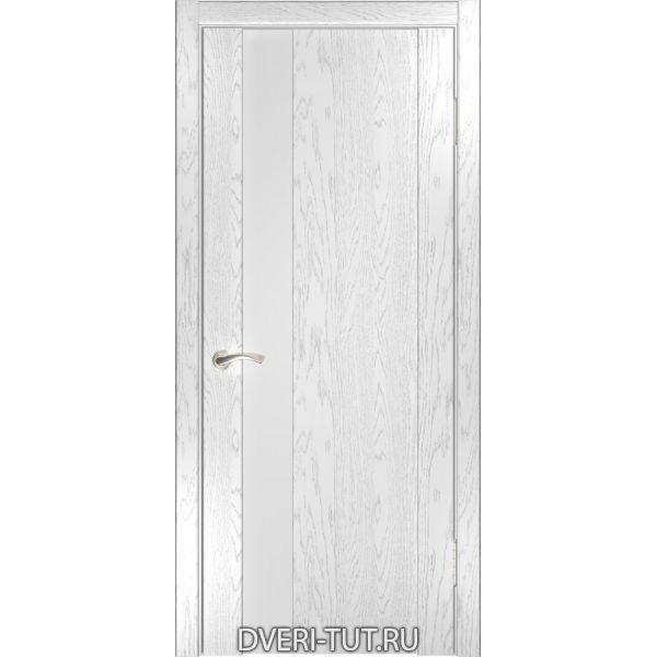 Дверь Орион-3 ДО шпон дуб белая эмаль со стеклом