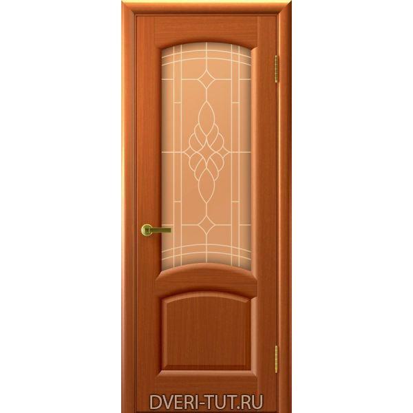 Дверь Лаура ДО шпон темный Анегри тон 74 (со стеклом)