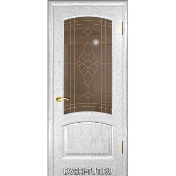 Дверь Лаура ДО шпон дуба белая эмаль (со стеклом)